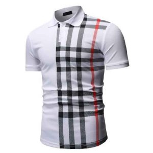 Camisa Polo Manga Curta Moda Streetwear Branca Lado C015