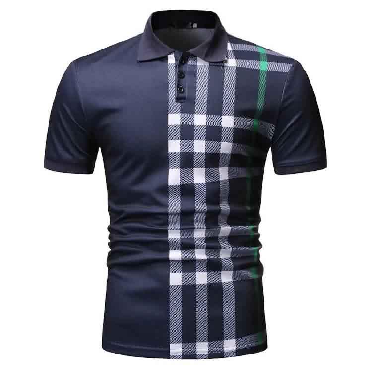 Camisa Polo Manga Curta Moda Streetwear Azul Marinho C015