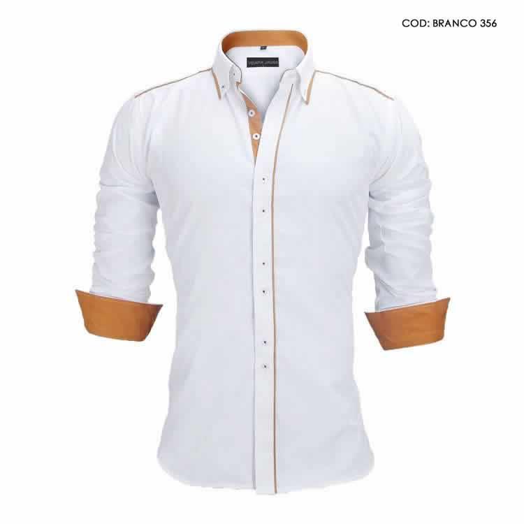 Camisa Slim Fit Estilo Britânico Branca Marrom C005