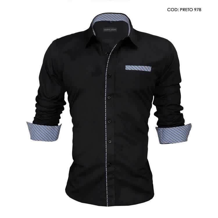 Camisa Slim Fit Estilo Britânico preta C005