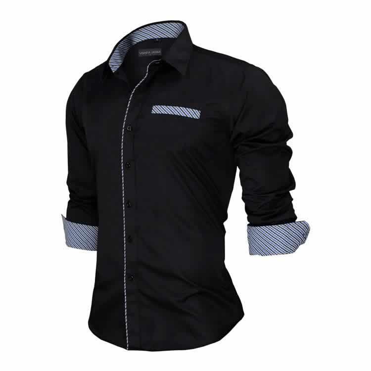 Camisa Slim Fit Estilo Britânico Preta Lado C005