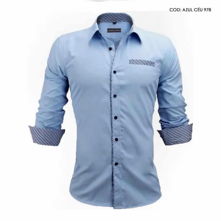 Camisa Slim Fit Estilo Britânico Azul Cinza Claro C005