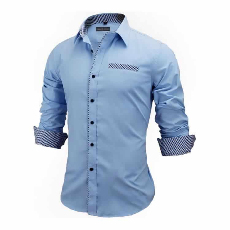 Camisa Slim Fit Estilo Britânico Azul Cinza Claro Lado C005