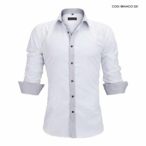 Camisa Slim Fit Estilo Britânico Branco Cinza C005