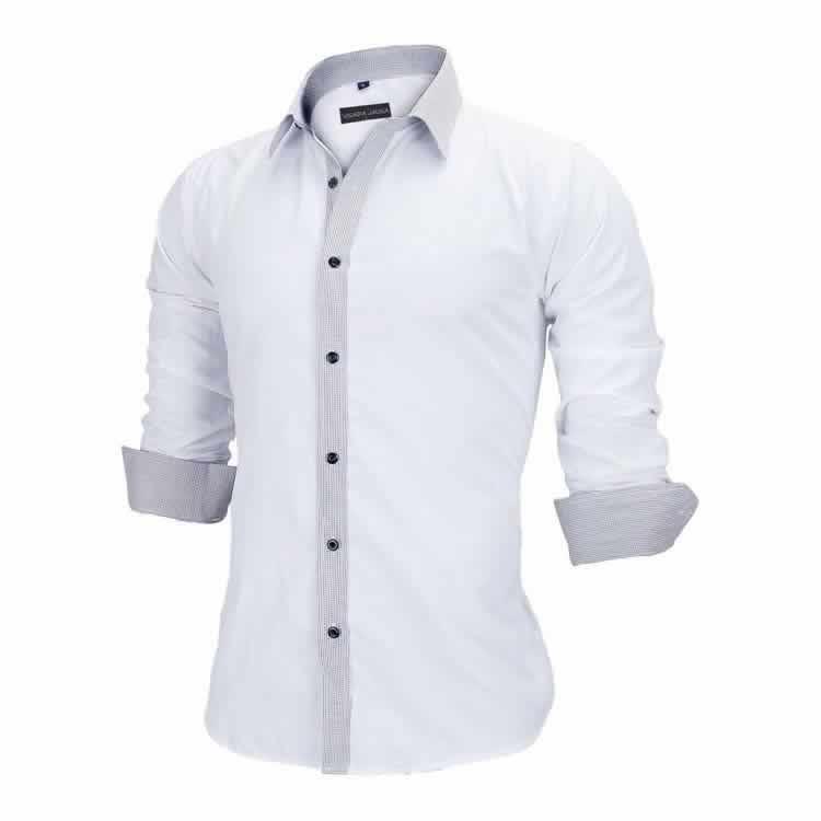 Camisa Slim Fit Estilo Britânico Branco Cinza Lado C005