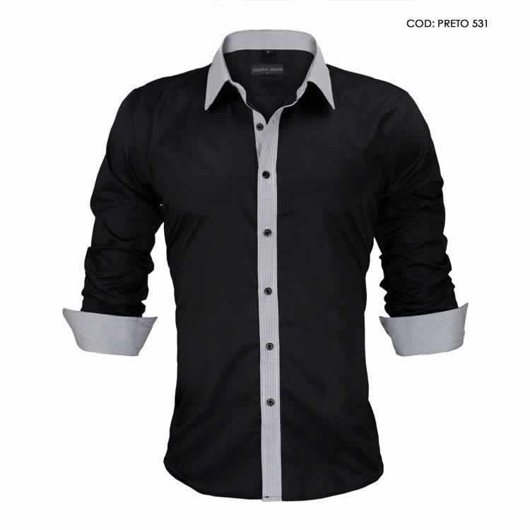 Camisa Slim Fit Estilo Britânico Preta Cinza Lado C005