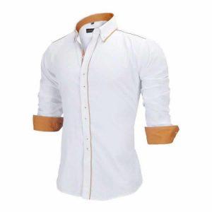 Camisa Slim Fit Estilo Britânico Branca Marrom Lado C005