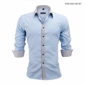 Camisa Slim Fit Estilo Britânico Azul Cinza C005