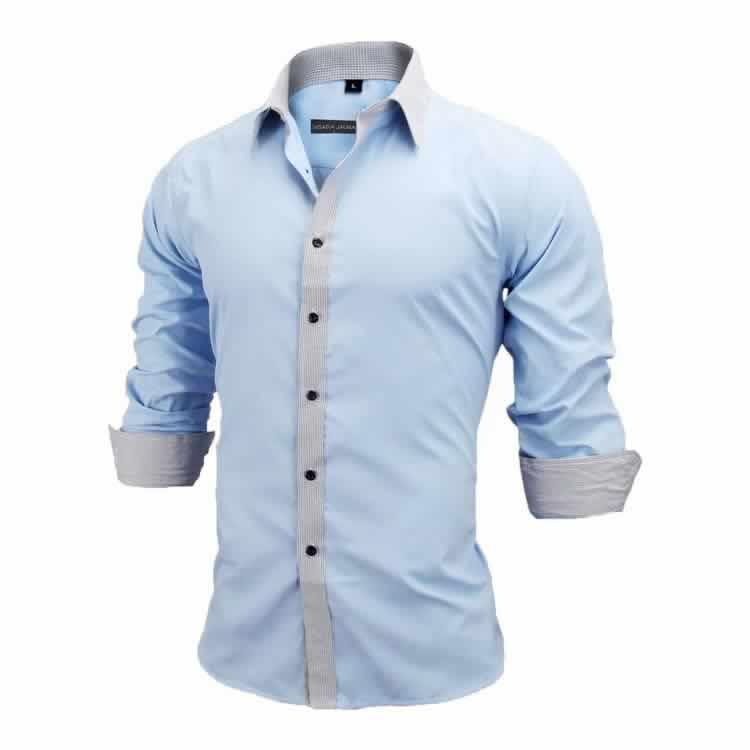 Camisa Slim Fit Estilo Britânico Azul Cinza Lado C005