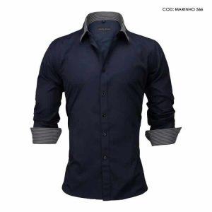 Camisa Slim Fit Estilo Britânico Azul Marinho C005