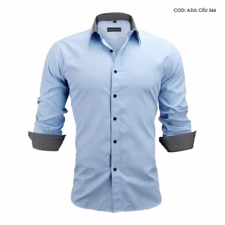 Camisa Slim Fit Estilo Britânico Azul Cinza Escuro C005