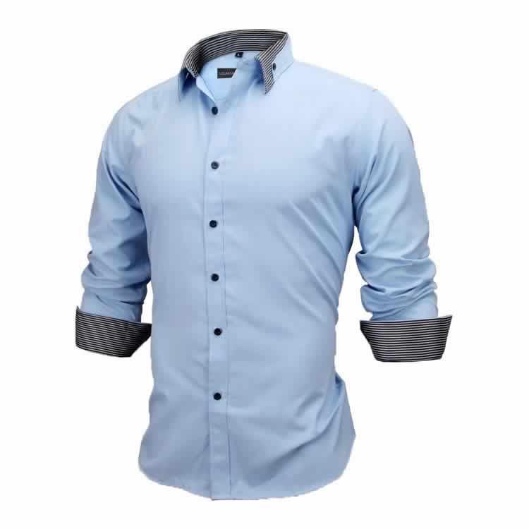 Camisa Slim Fit Estilo Britânico Azul Cinza Escuro Lado C005