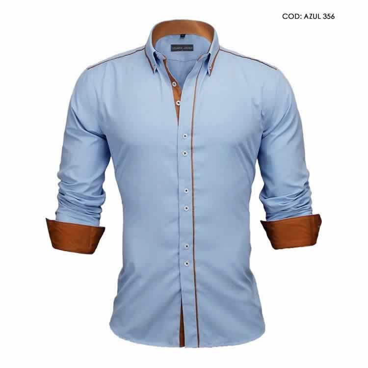 Camisa Slim Fit Estilo Britânico Azuk Marrom C005