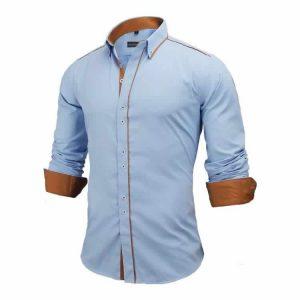 Camisa Slim Fit Estilo Britânico Azul Marrom Lado C005