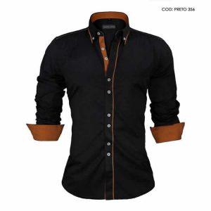 Camisa Slim Fit Estilo Britânico Preta Marrom C005