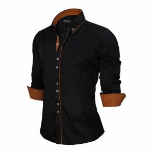 Camisa Slim Fit Estilo Britânico Preta Marrom Lado C005