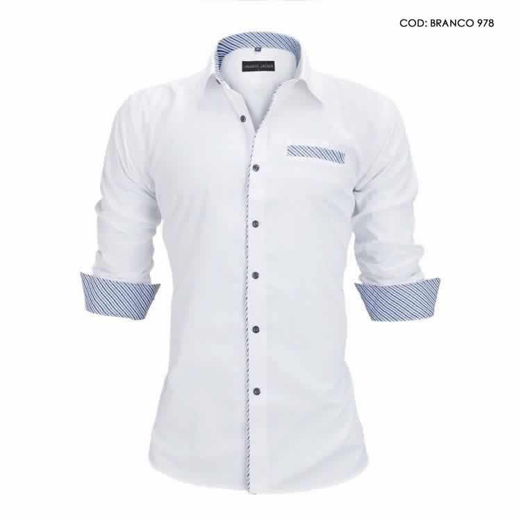 Camisa Slim Fit Estilo Britânico Branca Azul C005