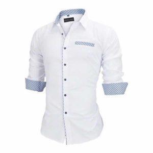 Camisa Slim Fit Estilo Britânico Branca Azul Lado C005