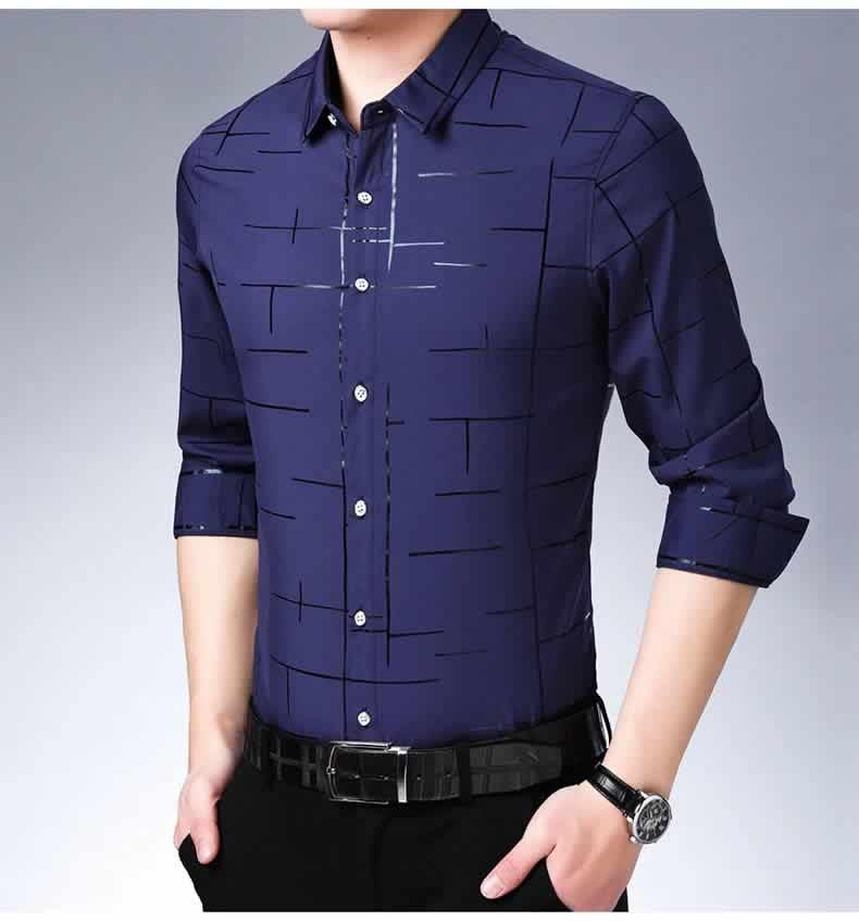 Camisa Slim Fit Lisa Xadrez Manga Longa Azul Marinho C007