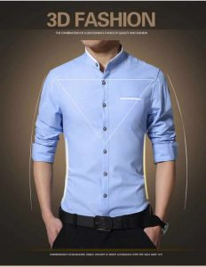 Camisa Gola Mandarim Padre Manga Longa Slim Fit Azul Claro Detalhes C002