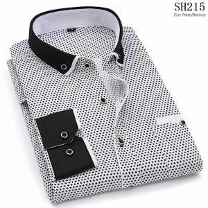 Camisa Slim Fit Luxury Social Casual Preto/Branco C004