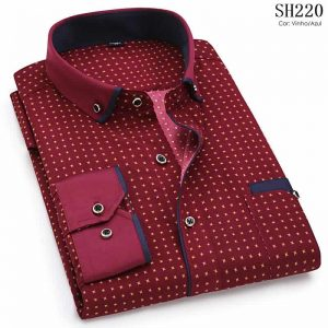 Camisa Slim Fit Luxury Social Casual Vinho/Azul C004