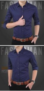Camisa Slim Fit Ocasional Moderna Azul 003