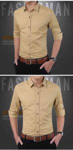 Camisa Slim Fit Ocasional Moderna Caqui 003