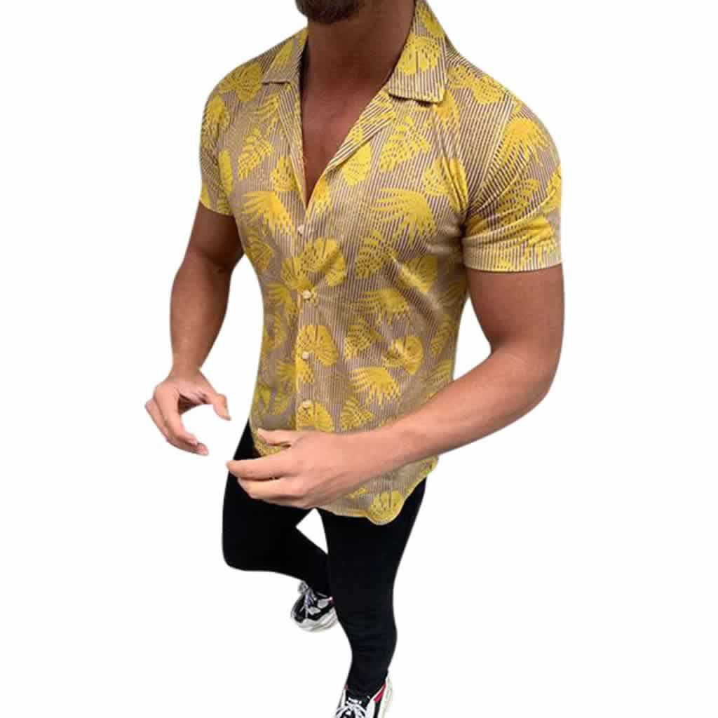 Camisa Casual Slim Fit Estilo Europeu Moda Verão Dourada C011