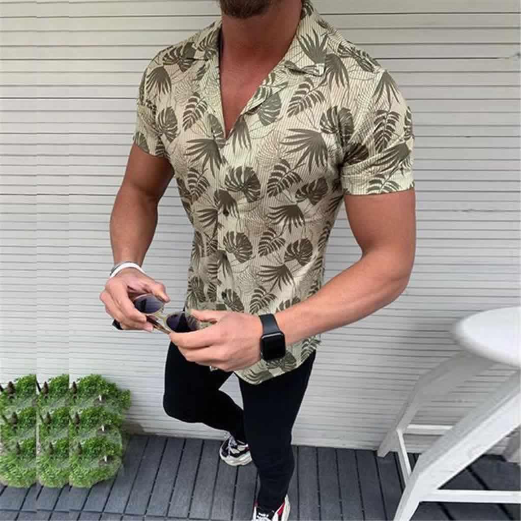 Camisa Casual Slim Fit Estilo Europeu Moda Verão Verde C011