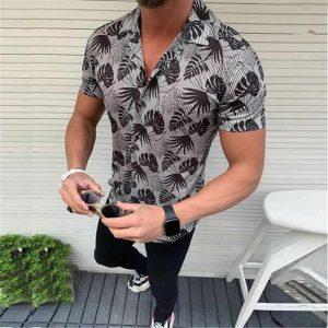 Camisa Casual Slim Fit Estilo Europeu Moda Verão Preto C011