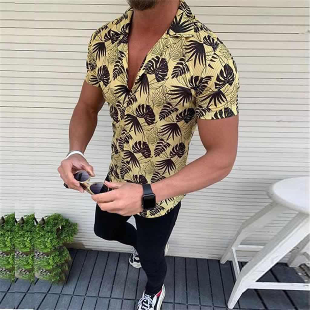 Camisa Casual Slim Fit Estilo Europeu Moda Verão Amarela C011
