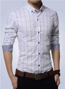 Camisa Slim Fit Quadriculada Manga Longa Branca Capa c001