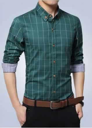 Camisa Slim Fit Quadriculada Manga Longa Verde Capa c001