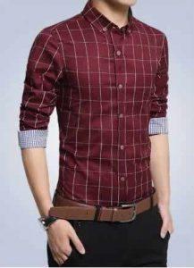 Camisa Slim Fit Quadriculada Manga Longa Vermelha Capa c001