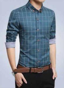 Camisa Slim Fit Quadriculada Manga Longa Azul Lago Capa c001