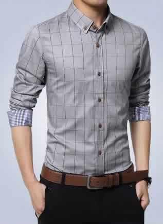 Camisa Slim Fit Quadriculada Manga Longa Capa c001