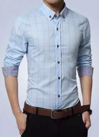 Camisa Slim Fit Quadriculada Manga Longa Azul Claro Capa c001