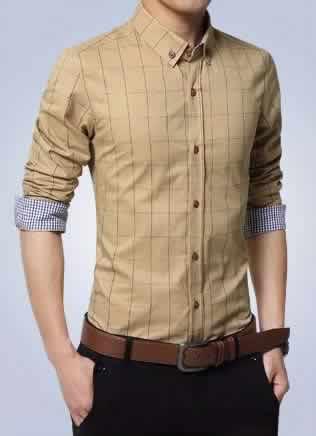 Camisa Slim Fit Quadriculada Manga Longa Caqui Capa c001