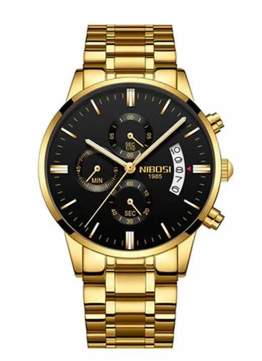 Relógio Original Nibosi Dourado Preto Comprar