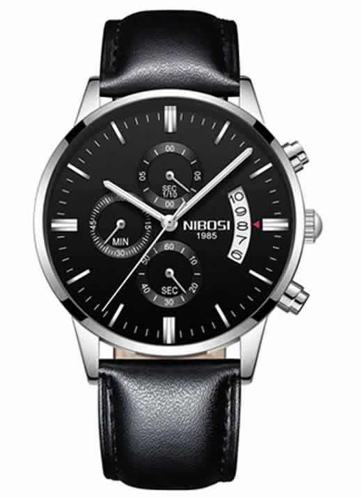 Relógio Original Nibosi Preto Couro AComprar