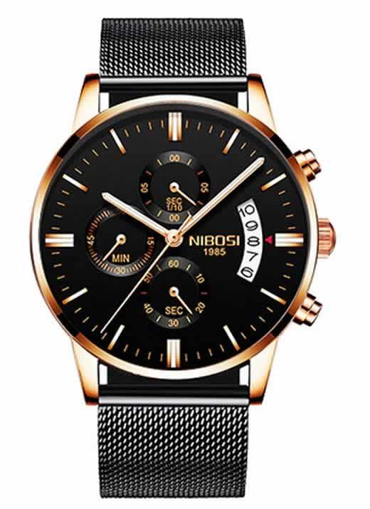 Relógio Original Nibosi Preto Cobre Comprar