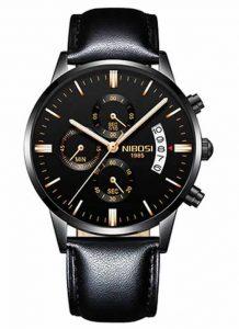 Relógio Original Nibosi Preto Couro CComprar
