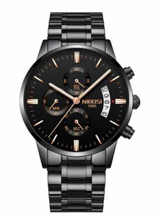 Relógio Original Nibosi Preto Dourado Comprar