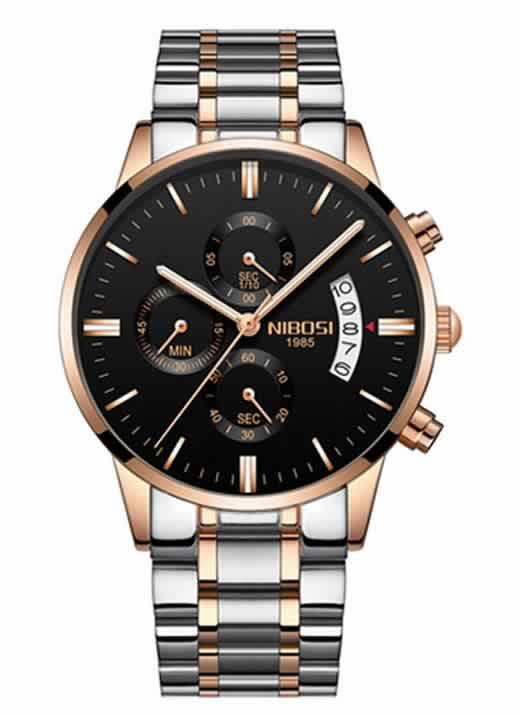 Relógio Original Nibosi Prata Preto Comprar