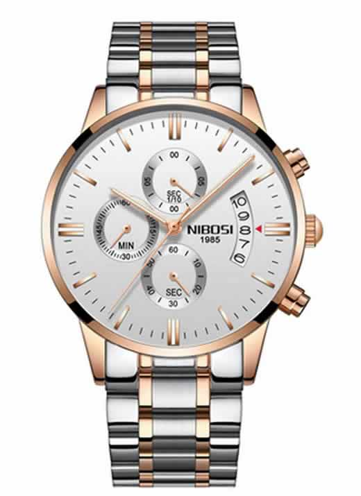 Relógio Original Nibosi Prata Branco Comprar