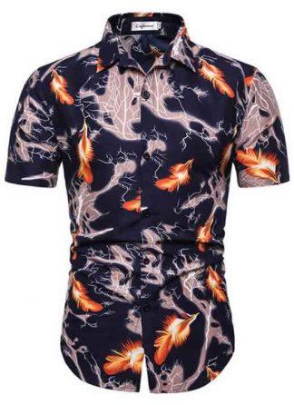Camisa Masculina Casual Havaiana Moda Praia Fogo C014