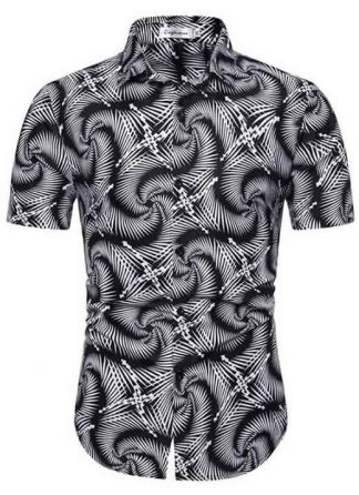 Camisa Masculina Casual Havaiana Moda Praia Cinza Cobra C014