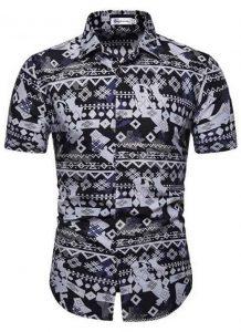 Camisa Masculina Casual Havaiana Moda Praia Cinza C014