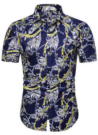 Camisa Masculina Casual Havaiana Moda Praia Azul Amarela C014